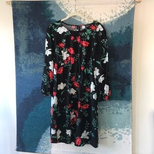 Black maternity dress with white and red flowers